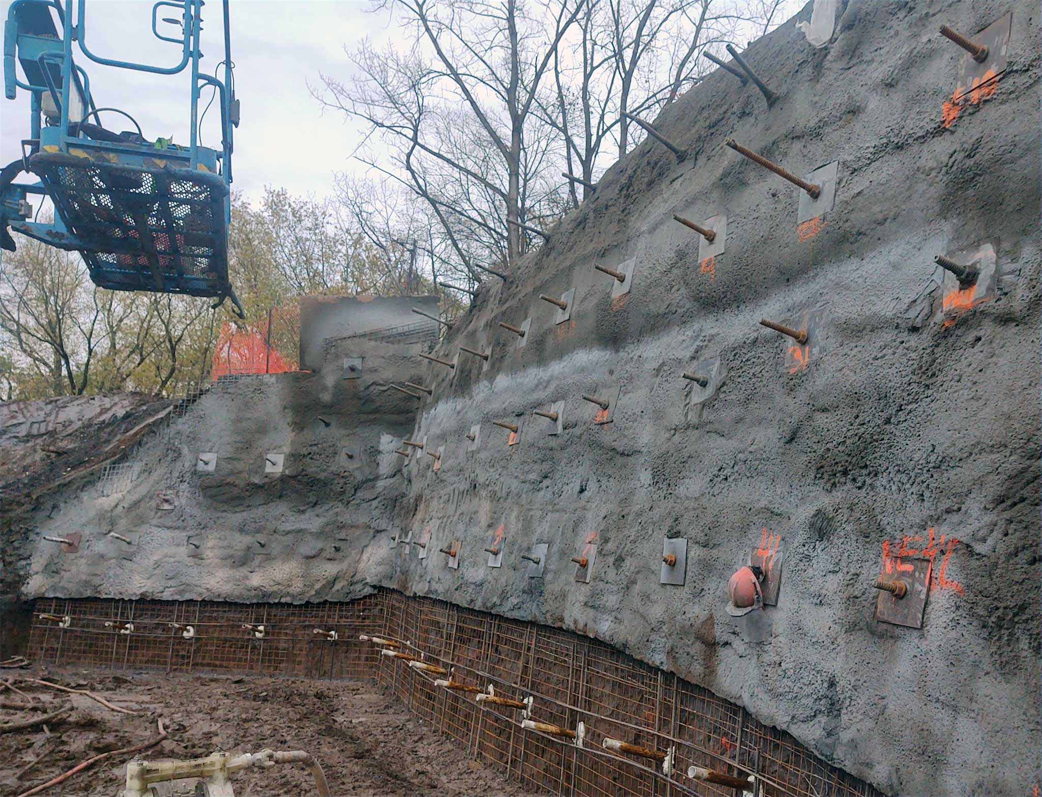 Empire Trail Tunnel Soil Nails and Shotcrete